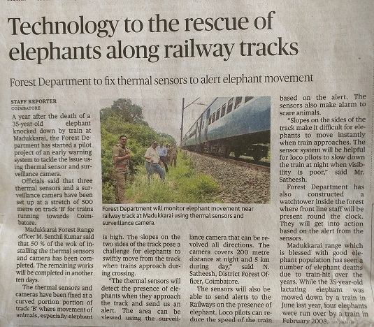 Elephant Early Warnng System for Railway Tracks-Media Clip on 18-08-2017